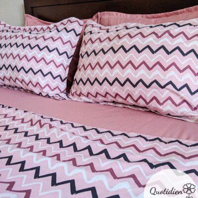 Draps Quotidien - Modèle zigzag rose