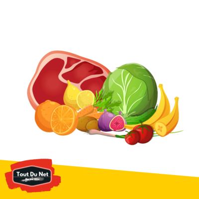 Fruits, légumes et viandes